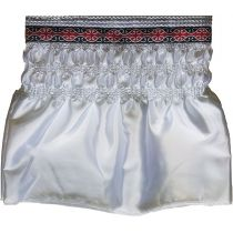 Polysatin Valance, White, with Red Swirl Pattern