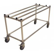 Casket display trolley with brakes