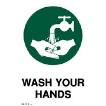 Sign, Wash Hands, Medium