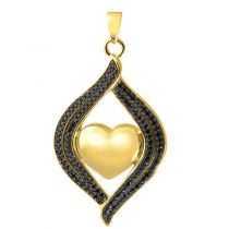 Teardrop Ribbon Heart Midnight Stones Pendant