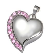 Shine Heart Pendant With Pink Stones